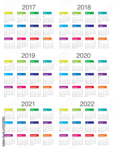 Poster  Simple Calendar template for 2017 to 2022