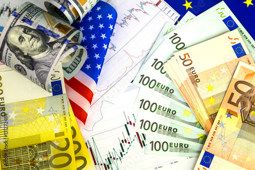 Concept Of Currency Trading Roll Hundred Us Dollar Bills Piles Euro Eur Exchange Chart Under The