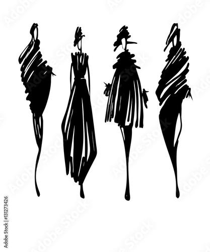 Fashion models sketch hand drawn , stylized silhouettes ...