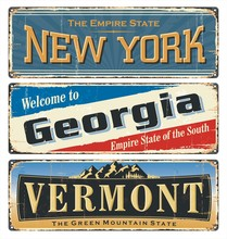 USA State.Vintage Tin Sign Collection With America State. All States. Retro Souvenirs Or Old Paper Postcard Templates On Rust Background. States Of America. New York. Georgia. Vermont.