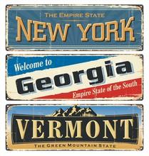 USA State.Vintage Tin Sign Col...