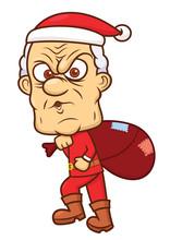 Ebenezer Scrooge In Santa Claus Costume Cartoon