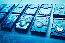 Hard Disk Drives In A Rows, Blue Tone
