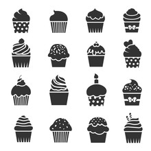 Cupcake Icons. Dessert Baking Black And White Signs