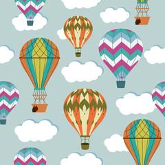 Tapeta Vintage balloons seamless pattern. Retro hot air cartoon airship background