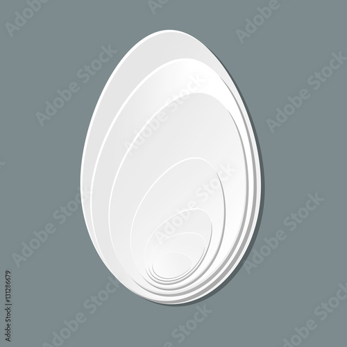 Papiers peints Tunnel vector pattern of white eggs on grey egg as ecological healthy natural food symbol, happy easter decor or stylish abstract white tag with cut paper design effect