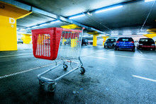 Abandoned Empty Cart In Shopping Mall Underground Garage Parking