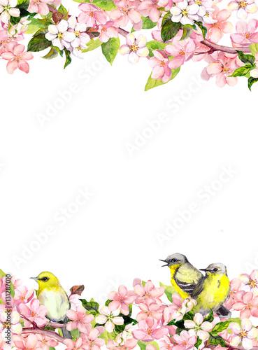 Blossom pink sakura flowers and song birds floral card or blank blossom pink sakura flowers and song birds floral card or blank watercolor mightylinksfo