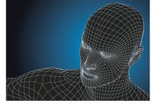 Futuristic Wireframe Human Head