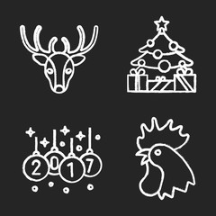 Christmas and New Year chalk icons set