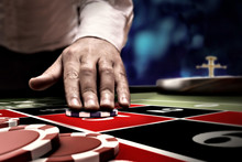 Gambler Bet On Roulette At Cas...
