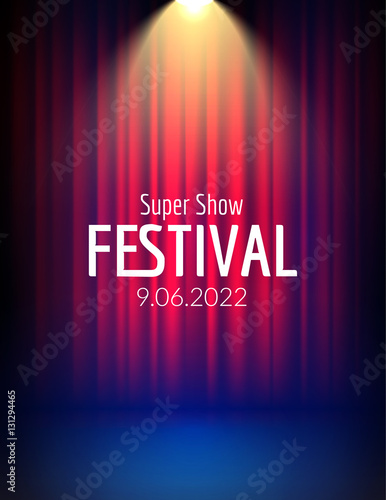 Fotobehang Licht, schaduw Festival show poster with spotlight. concert event, theater show design. Vector stage curtain. Poster flyer template with Light. Festive illustration