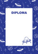 Kids diploma with space background.