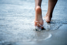 Woman Barefoot Walking On The ...