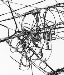 The chaos of cables and wires in Valparaiso - Chile (black and white)