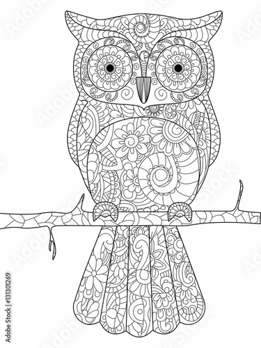 Owl on a branch Coloring book vector for adults