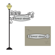 Forged Metal Pointer Streets With A Lantern. Forged Metal Signboard. Wrought Iron Vintage Sign. Vector Illustration.