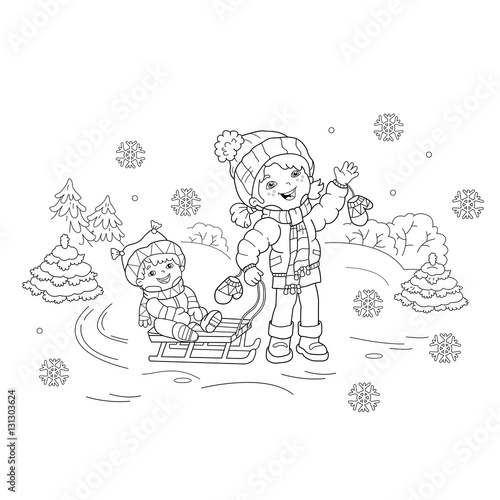- Coloring Page Outline Of Cartoon Girl With Brother Sledding. Winter. Coloring  Book For Kids - Buy This Stock Vector And Explore Similar Vectors At Adobe  Stock Adobe Stock