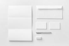Corporate Stationery Set Mockup. Blank White Textured Brand ID