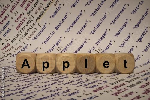 Applet - Wort aus Holz Buchstaben zusammengesetzt Wallpaper Mural