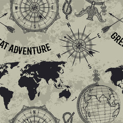 FototapetaSeamless pattern with vintage globe, compass, world map and wind rose. Retro hand drawn vector illustration