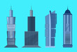 Skyscraper icon set isolated on blue background