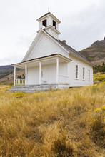 Old School House Or Church In Field Near Summer Lake Oregon