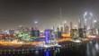 Dubai Business Bay skyline at night time lapse video
