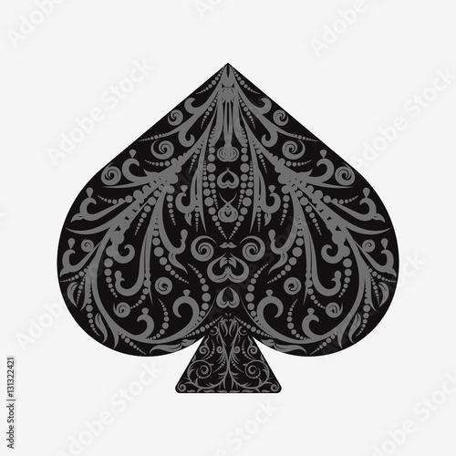 Suit spades card isolated on white Tapéta, Fotótapéta
