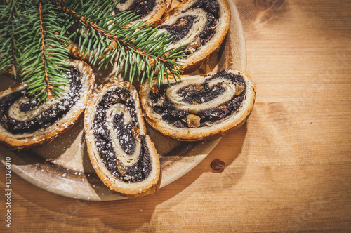 Hungarian Christmas Traditions.Traditional Hungarian Christmas Bejgli Poppy Seed Roll