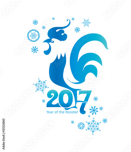 Valokuva  Rooster and snowflakes 2017. Vector template.