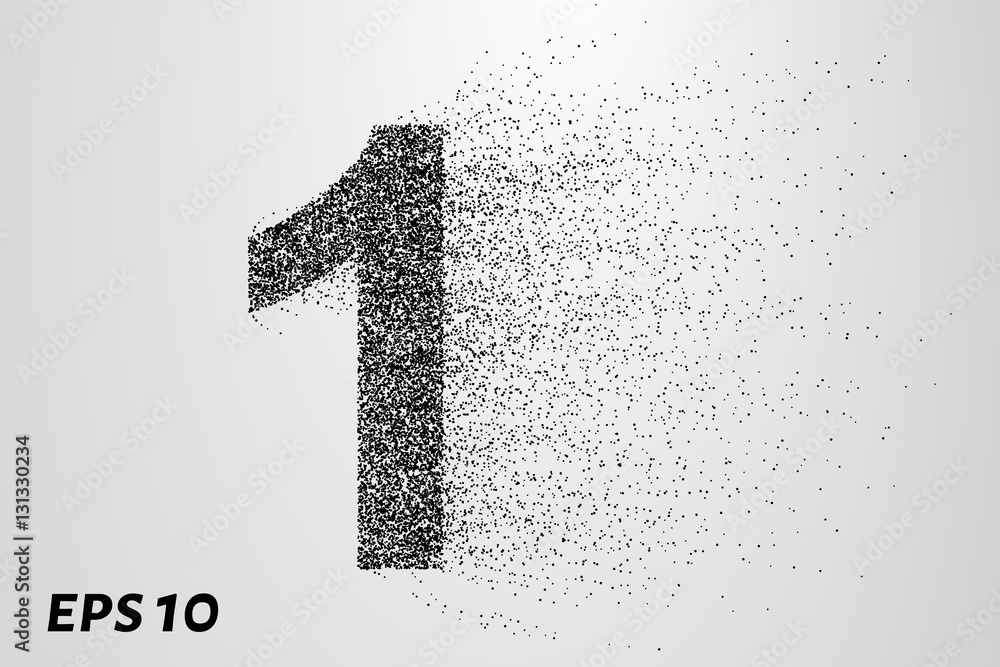 Fototapeta Letter 1 from the particles. The letter 1 consists of circles and points. Vector illustration