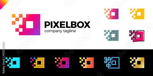Fotografía  Set of Business corporate colorful letter O logo design vector logotype for technology