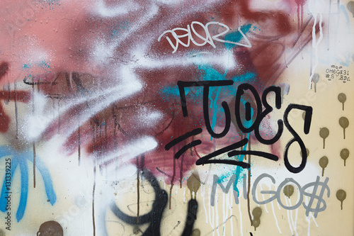 Close up of graffiti on a metallic fence