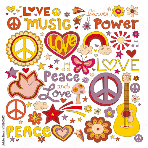 Foto  Vector illustrations on a peace and love background