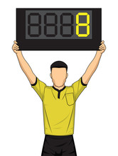 Football Referee Shows Extra Time, The Soccer Players Change.