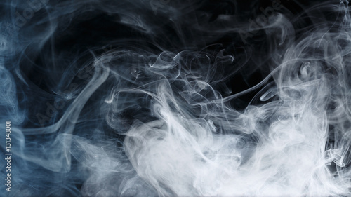 Poster Fumee Abstract smoke Weipa. Personal vaporizers fragrant steam. The concept of alternative non-nicotine smoking. Blue smoke on a black background. E-cigarette. Evaporator. Taking Close-up. Vaping.