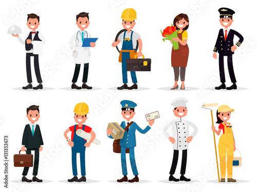 Fotografía  Set professions: waiter, doctor,  electrician, florist, pilot, b