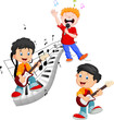 Cartoon happy kids singing and playing music