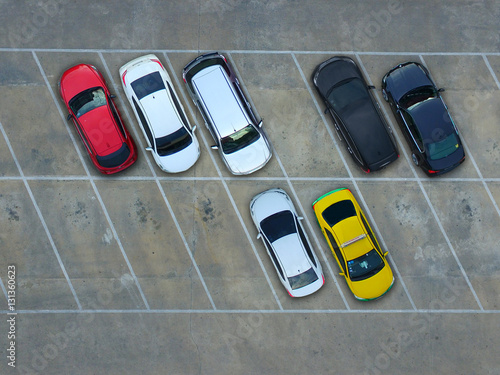 Fototapety, obrazy: Empty parking lots, aerial view.
