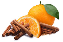 Orange With Cinnamon Sticks, P...