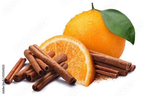 Stampa su Tela Orange with cinnamon sticks, paths