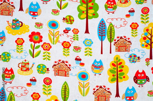 Fototapety, obrazy: Texture, background. textiles. cotton cloth. children's drawings