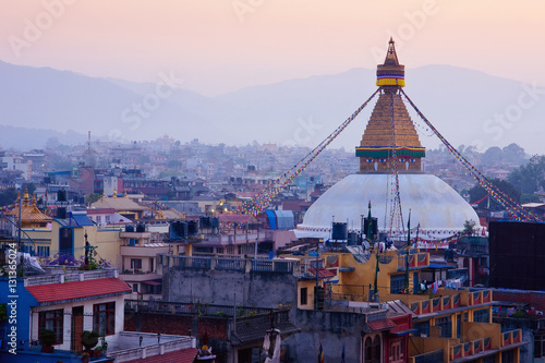 Staande foto Nepal Kathmandu city view on the early morning before sunrise with famous buddhist Boudhanath Stupa temple. Tibetan traditional architecture, Nepal.