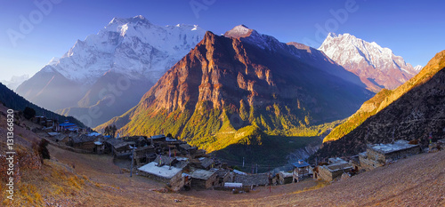Horizontal Panoramic mountain view of Ghyaru village, Mountain Annapurna II and Wallpaper Mural