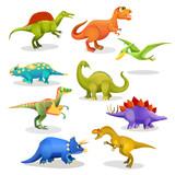 Fototapeta Dinusie - Collection of prehistoric dinosaur habitants. Vector