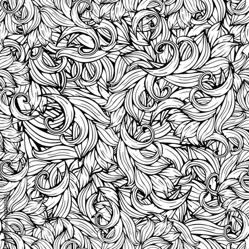 Slika na platnu Abstract vector background, black and white seamless pattern, monochrome