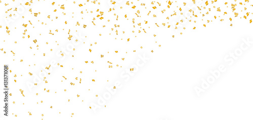 Obraz Gold bright confetti on white Christmas background. Golden decoration glitter abstract design of Happy New Year card, greeting, Xmas holiday celebrate banner. Space effect. Vector illustration - fototapety do salonu