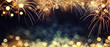 Leinwanddruck Bild - Gold and dark blue Fireworks and bokeh in New Year eve and copy space. Abstract background holiday.