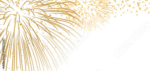 gold bright firework confetti on white christmas background golden decoration abstract design happy new
